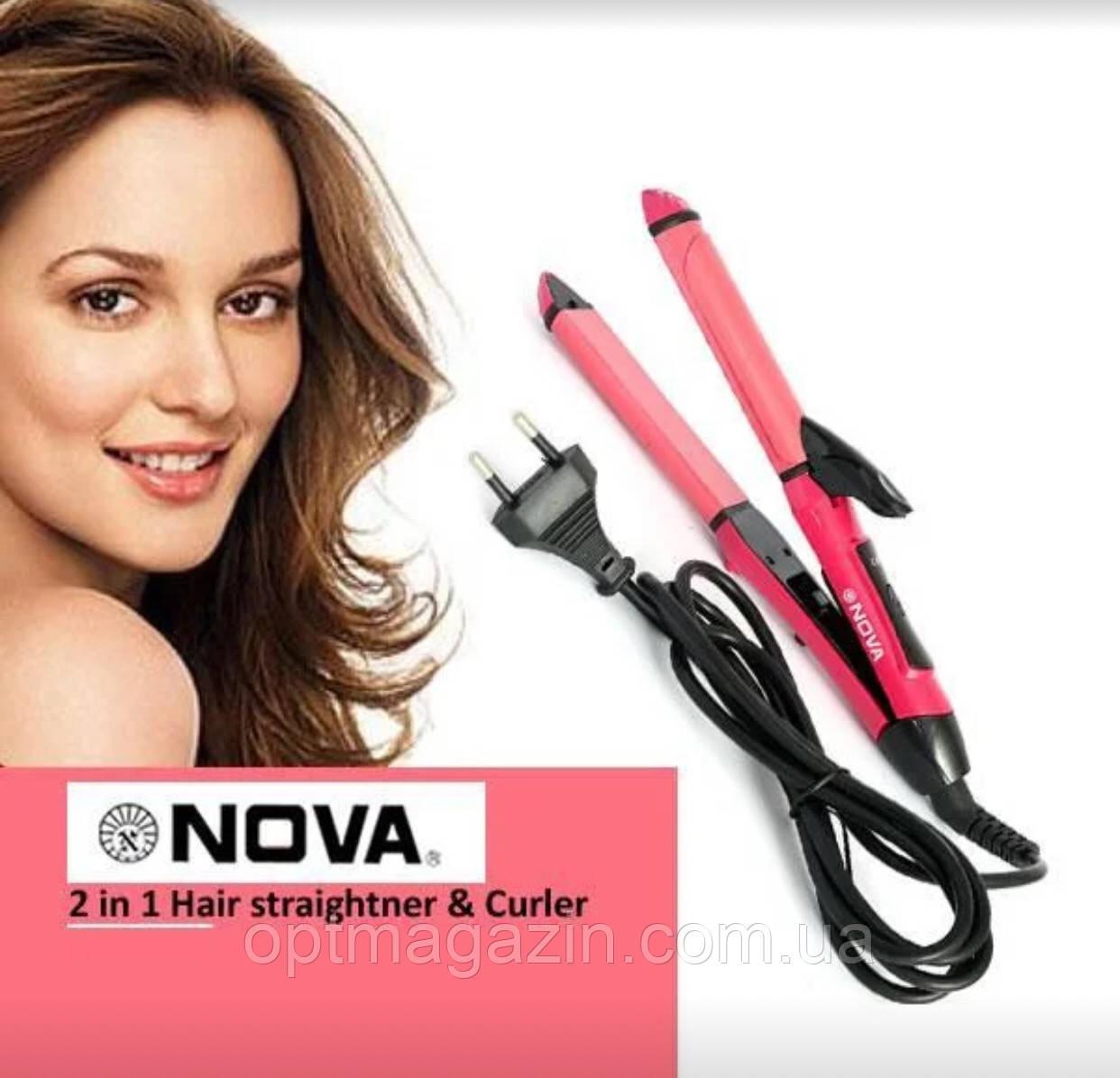 Плойка-випрямляч для волосся 2 в 1 Nova NHC 2009