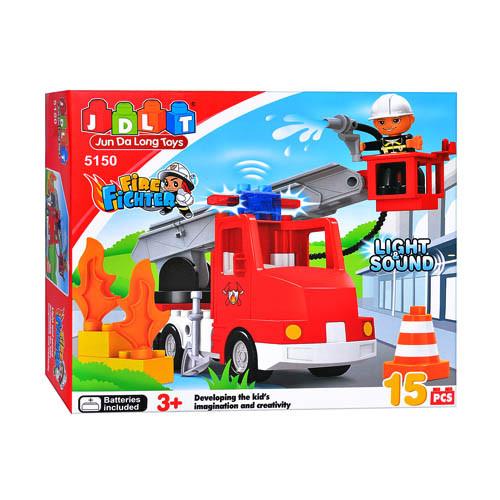 Конструктор JDLT 5150  Пожарная машина, 15 дет, звук, свет, в кор-ке, 32-29-9см