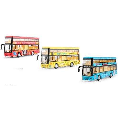 Автобус 6016B  металл, инер,21см,муз-зв,св,2этаж,откр.дв,3цв,бат(таб),в кор-ке,26,5-11,5-7,5см
