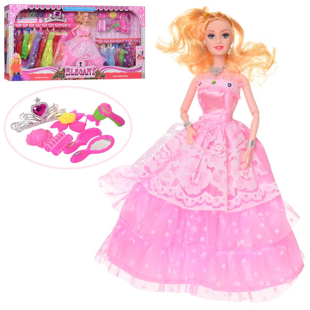 Кукла с нарядом 055D  платье 16шт,обувь, диадема,аксессуары,в кор-ке,68-33,5-6,5см