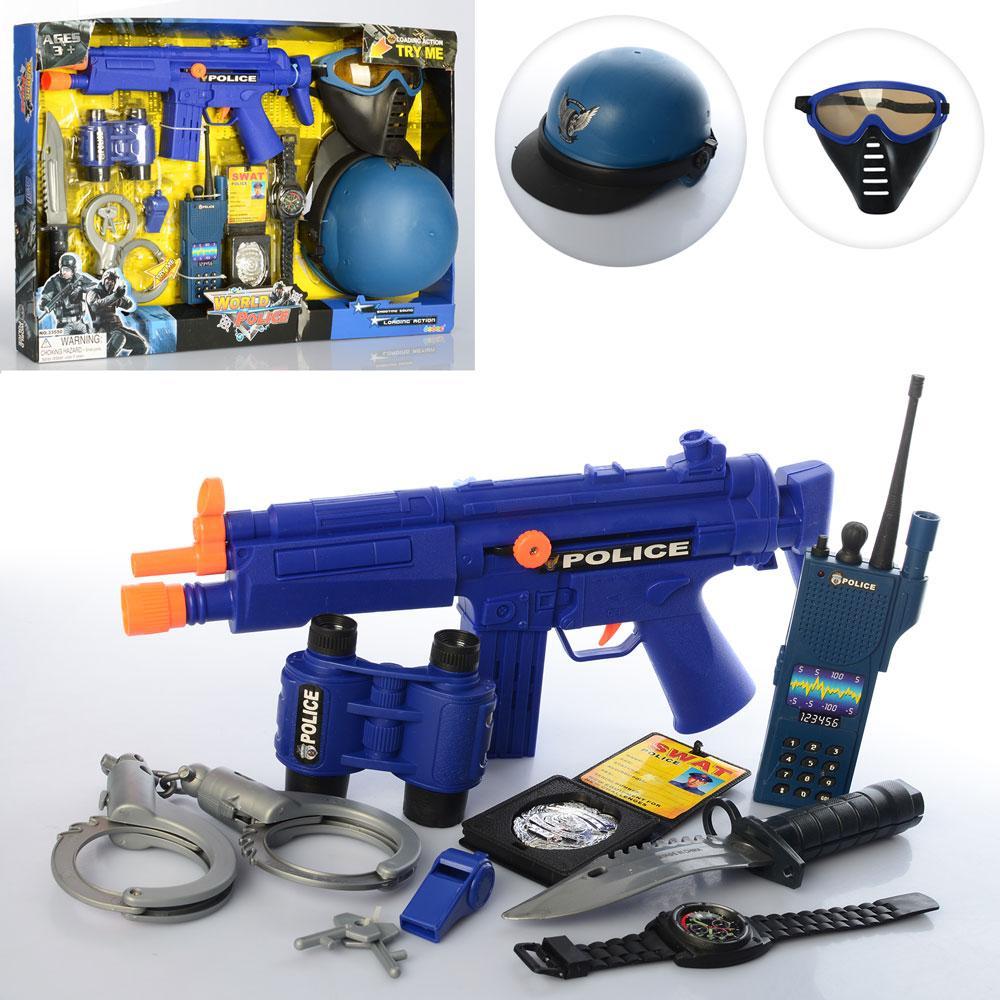 Набор полиции 33550  маска, пистолет, бинокль, автомат трещотка, в кор-ке, 59-40-6см