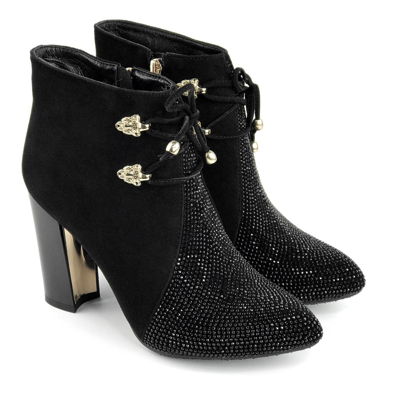 Жіночі черевики 1566 MORENTO (чорні, натуральна замша,байка, весна/осінь)