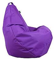 Бескаркасное Кресло-Груша со съемным чехлом из ткани Оксфорд 600D и ручкой для переноски, фиолетовый 90х60 см