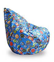 Бескаркасное Кресло-Груша со съемным чехлом из ткани Оксфорд 600D, с ручкой, принт Значки голубой 90х60 см