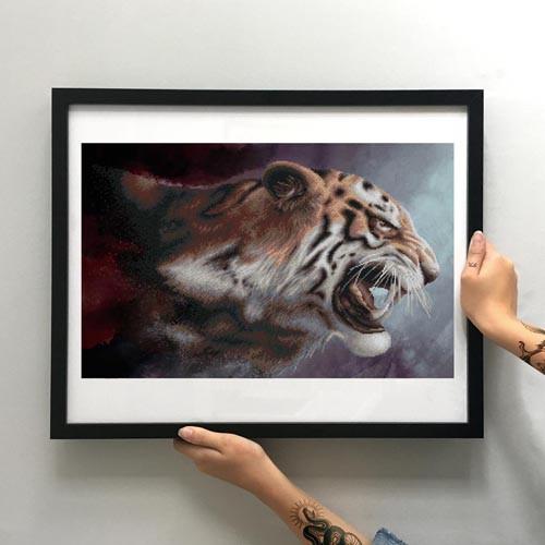 Картина Тигриный оскал ММЖМ-010 [Материал: Габардин подклеенный флизелином]