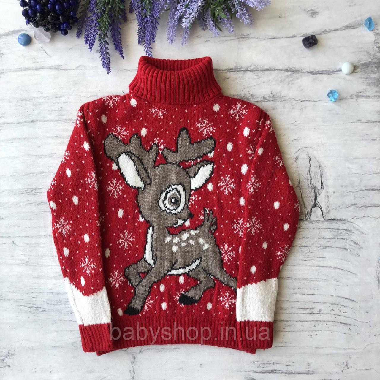 Теплый новогодний свитер на мальчика 7. Размер 3 года, 4 года, 5 лет, 6 лет