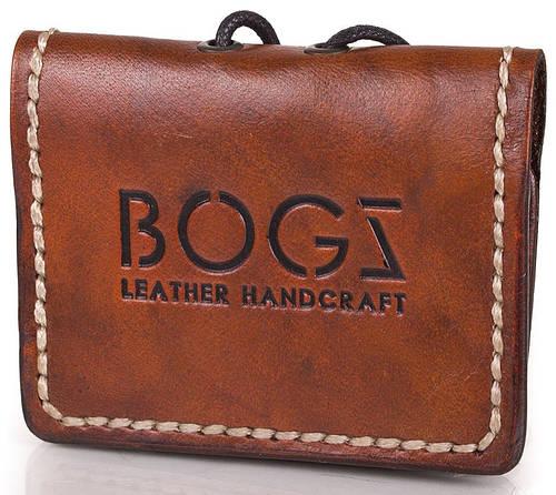 Удобное мужское мини-портмоне из натуральной кожи BOGZ (БОГЗ) BZ-5-A104 оранжево-коричневый