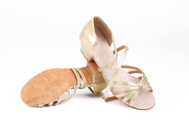 Туфли детские для бальных танцев золото Rivage Line А 7100-2, фото 2