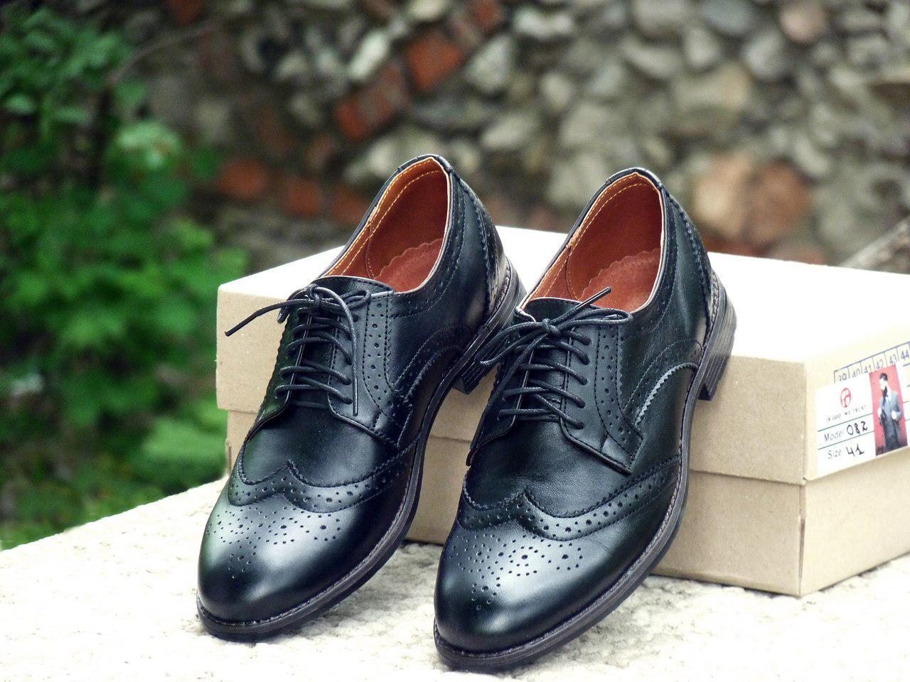 Туфли броги мужские черные кожаные (Onyx) от бренда Legessy размер 40, 41, 42, 43, 44, 45 Черный, 41