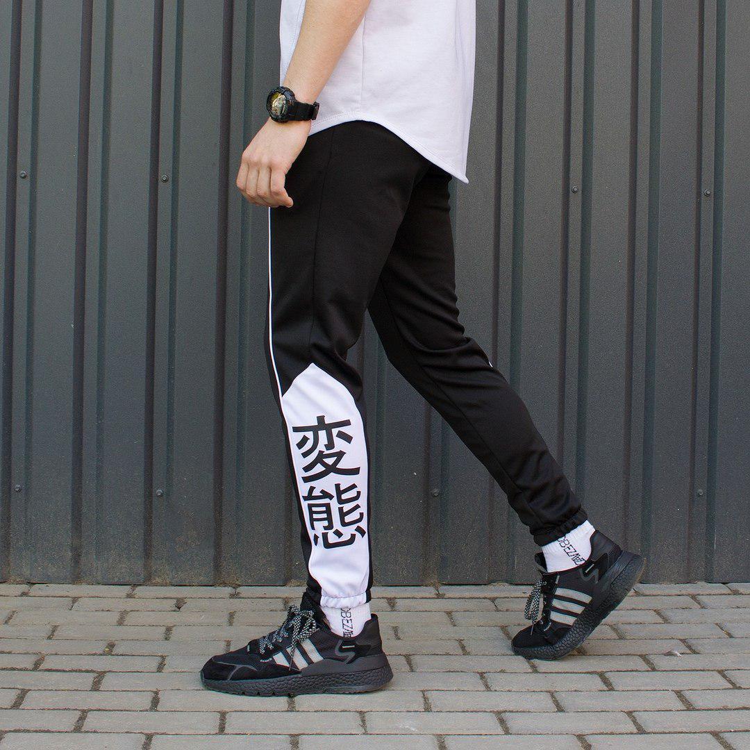 Cпортивные штаны мужские черно-белые от бренда ТУР модель Крид (Creed) размер S, M, L, XL M