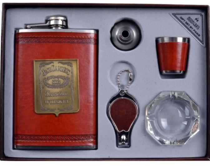 Подарунковий набір з флягою для чоловіків Jack Daniels шкіра+набійка (фляга,брелок,попільничка,стопка,лійка)