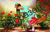 """Схема для частичной вышивки """"Девочка и цветы"""""""