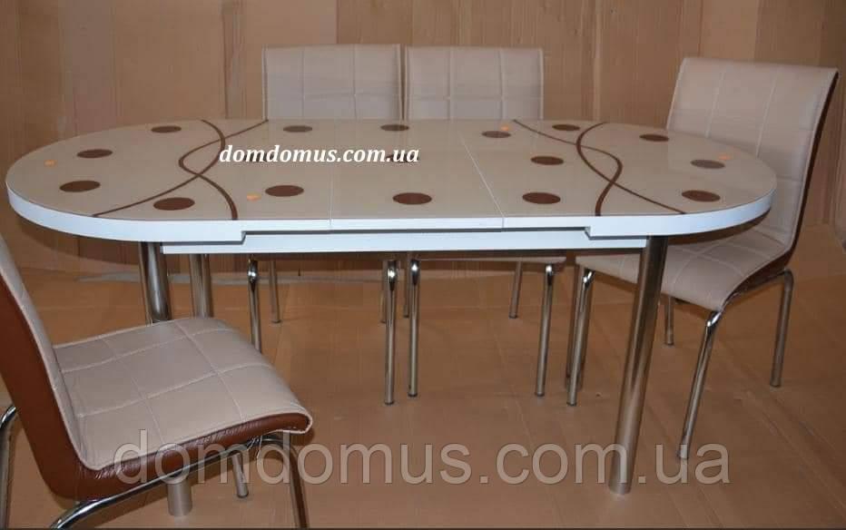 """Стол обеденный овальный """"Cappucino"""" 130*75 см (стол ДСП, каленное стекло) Mobilgen, Турция"""