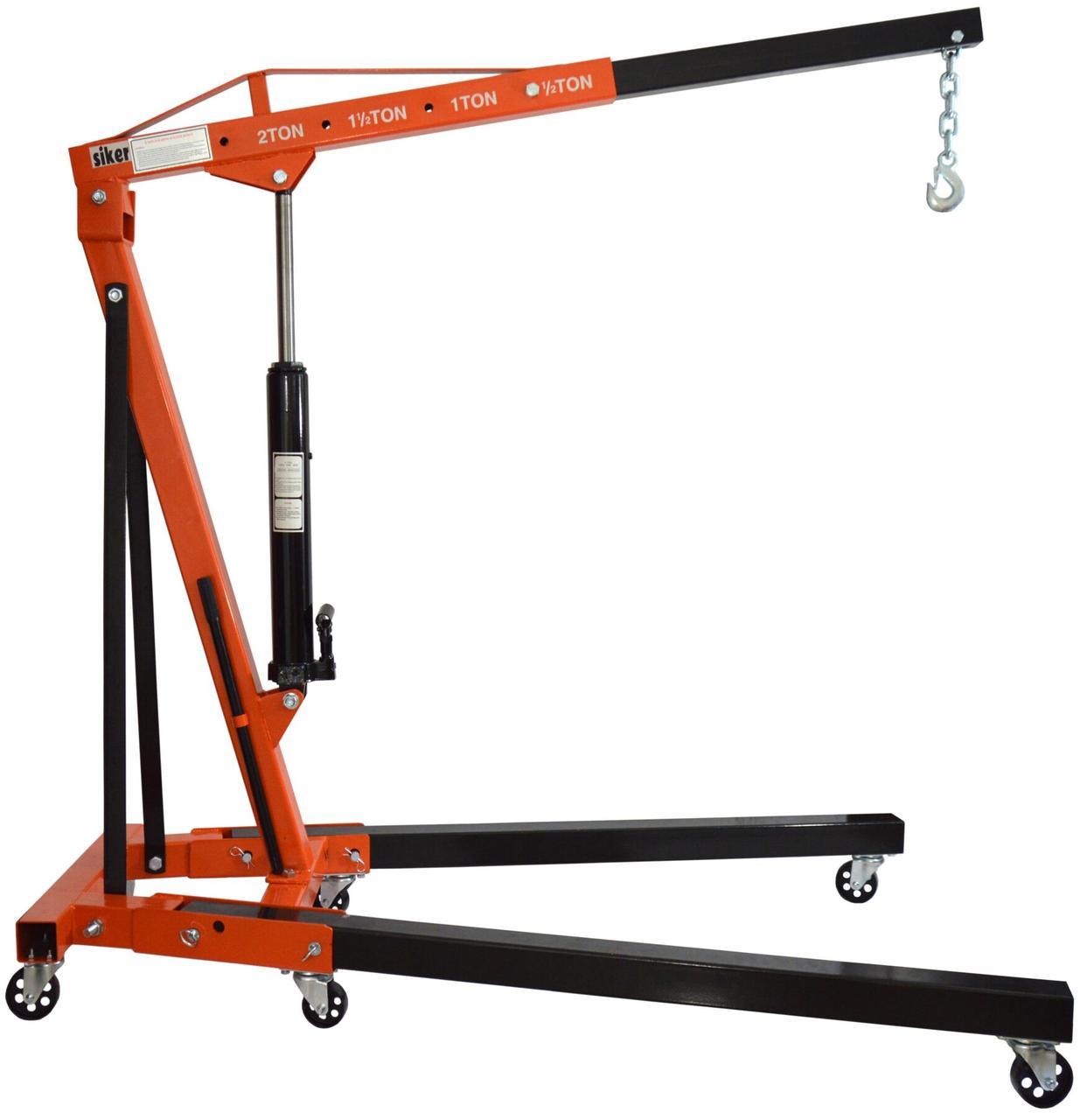 Кран підйомник складаний гідравлічний підкатний Siker 2 тонни для СТО та гаража в комплекті ланцюг з гачком