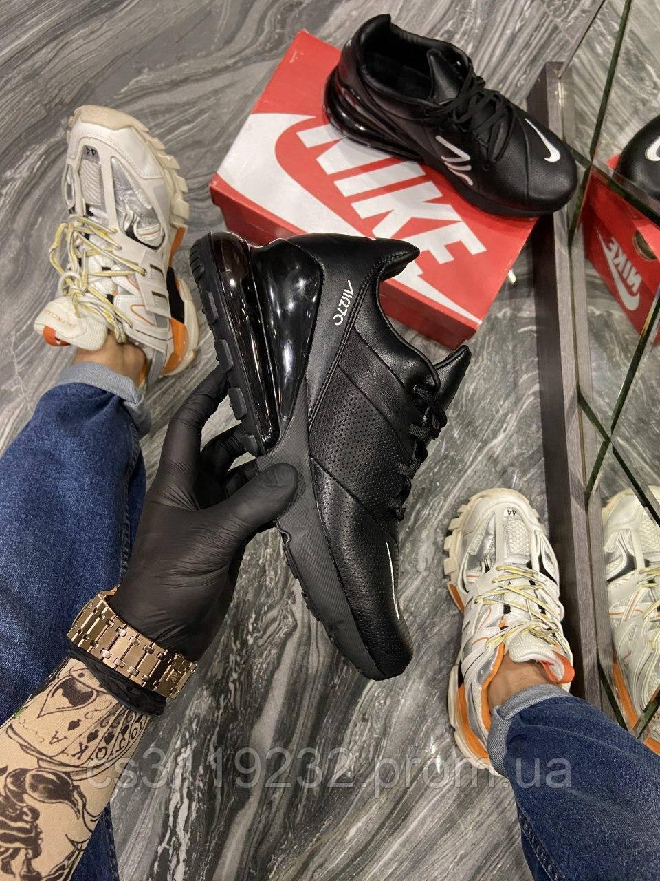 Мужские кроссовки Nike Air Max 270 Leather Triple Black (черные)