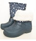 Дутики женские сапоги на меху (снежинки)., фото 2
