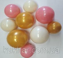 """Набір """"Кульки святкові (9шт) білі/золоті/рожеві"""""""