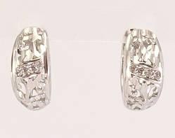 """Серьги M&L колечки """"Вензельный резной орнамент с кристаллами"""""""