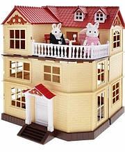 Заміський будиночок для Зайчиків Happy Family, меблі, 2 фігурки, підсвічування (аналог Sylvanian Families) 012-10
