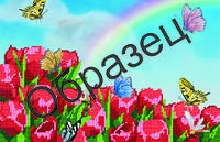 """Схема для частичной вышивки """"Тюльпаны и бабочки"""""""