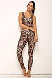 Спортивний жіночий костюм для фітнесу бігу йоги. Спортивні жіночі легінси топ для фітнесу (леопардовий), фото 4
