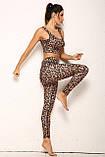 Спортивний жіночий костюм для фітнесу бігу йоги. Спортивні жіночі легінси топ для фітнесу (леопардовий), фото 9