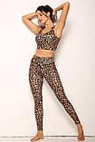 Спортивний жіночий костюм для фітнесу бігу йоги. Спортивні жіночі легінси топ для фітнесу (леопардовий), фото 5