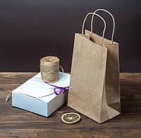 Бумажные пакеты с ручками 150 мм*90 мм*240 мм крафт
