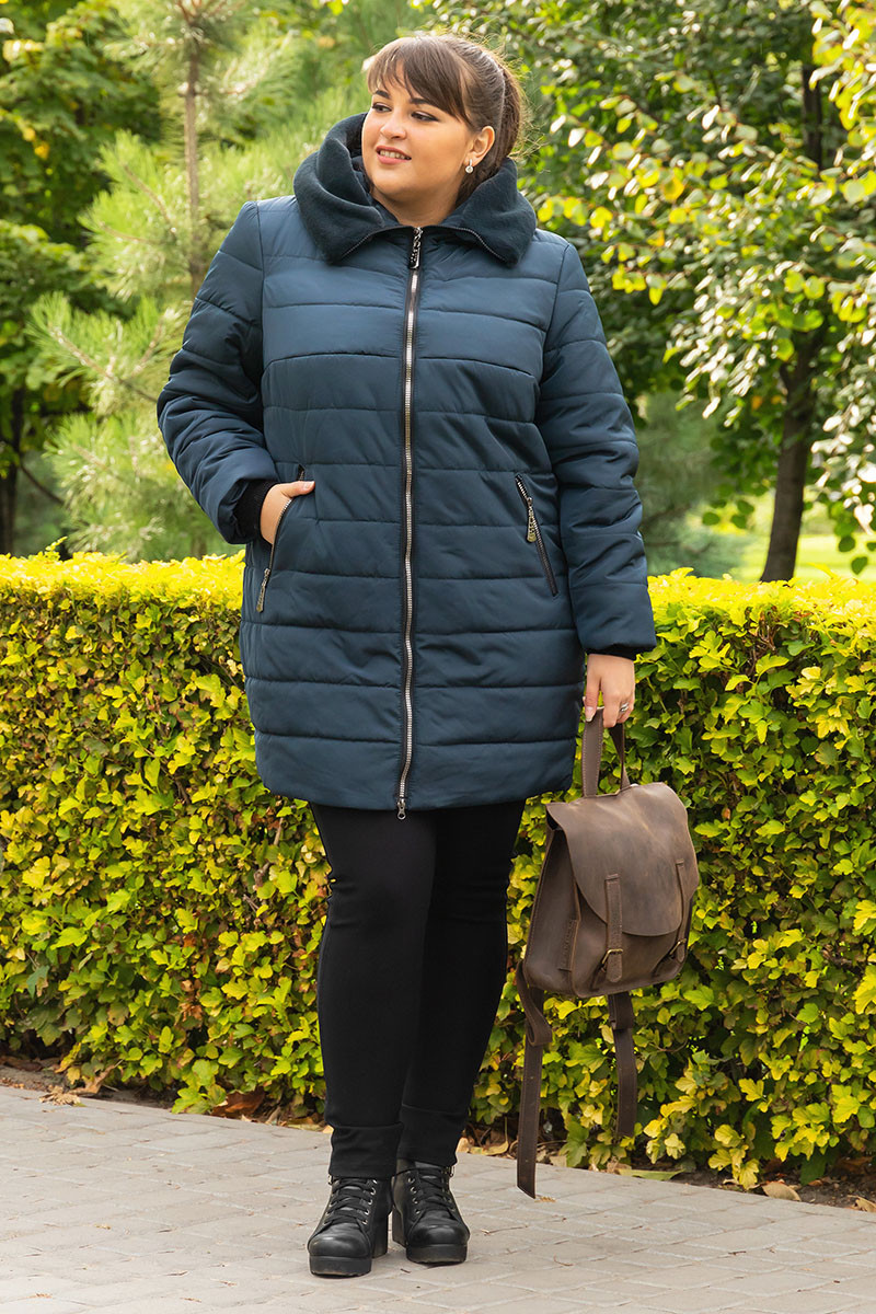 Женская зимняя теплая куртка большого размера