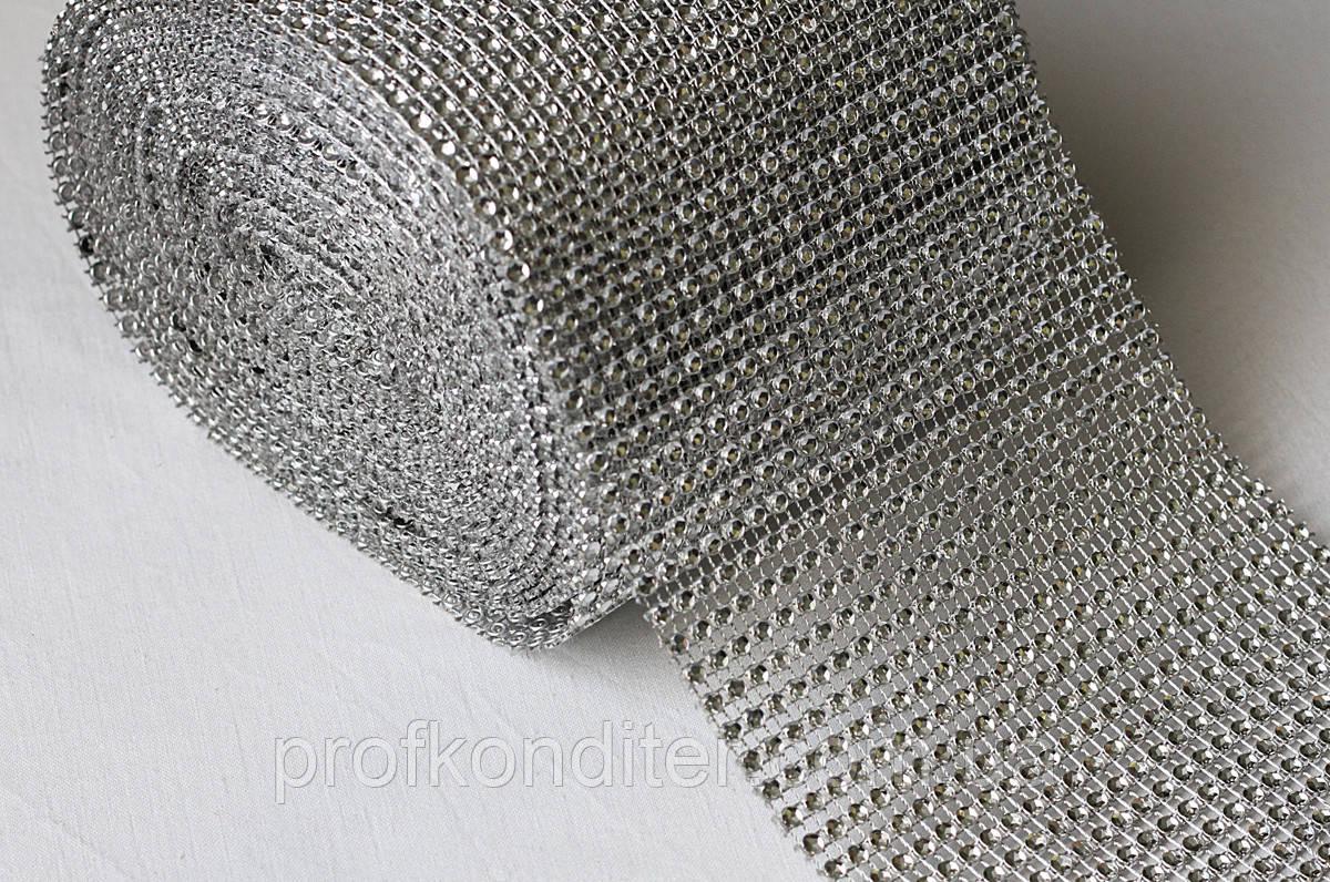 Стрічка декоративна срібло 6см