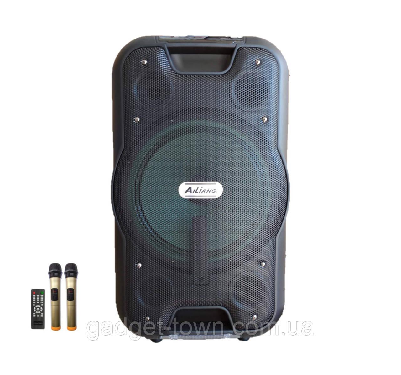 Колонка аккумуляторная Ailiang UF-2112 c радиомикрофонами (100W/USB/BT/FM)