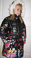 Детское теплое зимнее пальто для девочки Цветы черный