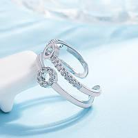 Женское кольцо с стразами, медсплав, кольцо серебряного цвета, кольцо с кружочками FS1742-75