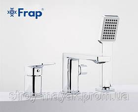 Короткий квадратный смеситель для ванны на борт однорычажный с выдвижной лейкой латунь - Frap F1146