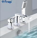 Короткий квадратный смеситель для ванны на борт однорычажный с выдвижной лейкой латунь - Frap F1146, фото 2