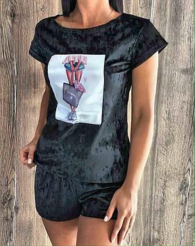 Пижама из мраморного велюра майка-шорты с аппликацией. Женская велюровая одежда.