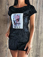 Молодежная пижама  из мраморного велюра 608.