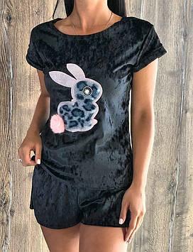 Комплект футболка и шорты женский для дома. Стильная молодежная пижама