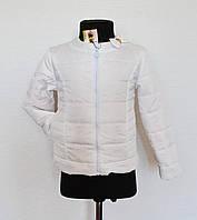 Детская куртка на девочку 5-8лет белого цвета демисезонная