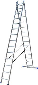 Лестница ELKOP VHR Hobby 2x14 алюминиевая, 2 секции, 14 ступеней