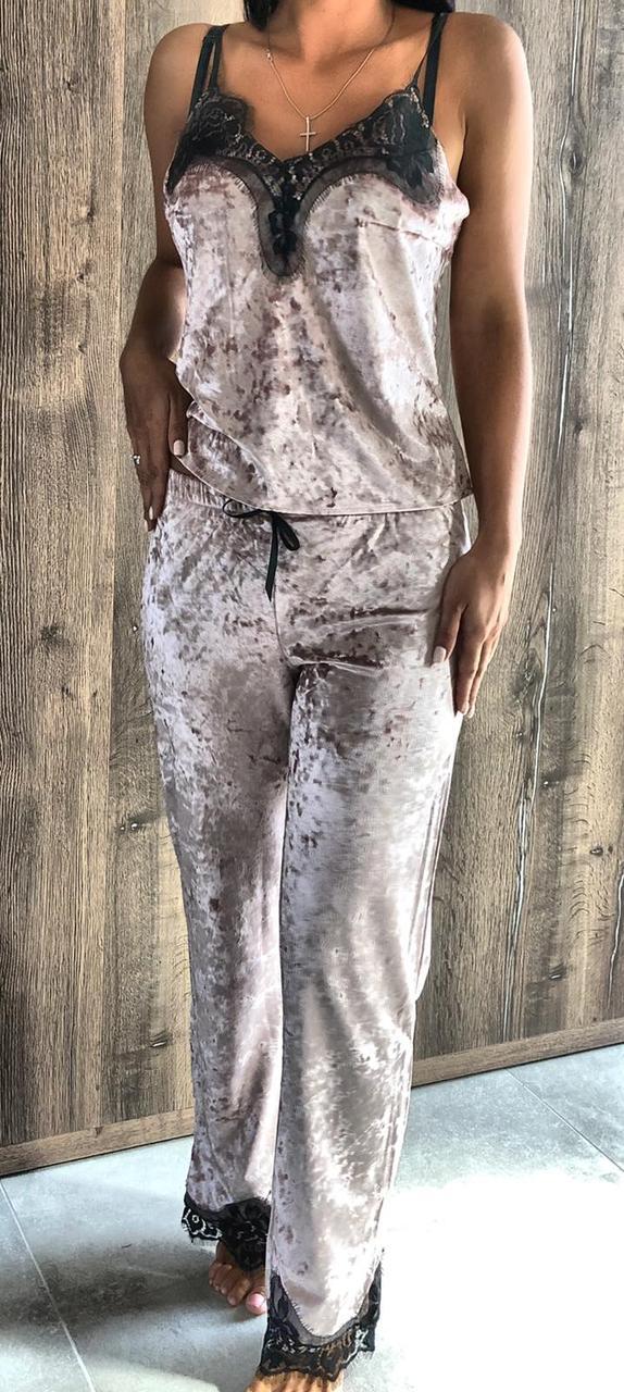 Велюровая пижама майка и штаны с кружевом 074 пудра.