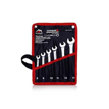 Набор комбинированных ключей Vulkan 8-17 мм, 6 шт в чехле