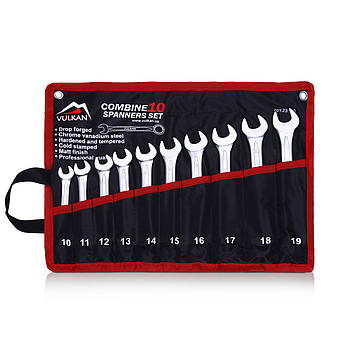 Набор комбинированных ключей Vulkan 10-19 мм, 10 шт в чехле