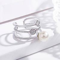 Кільце  з перлиною, медсплав, кільце  із стразами, жіноче кільце  FS1746-75