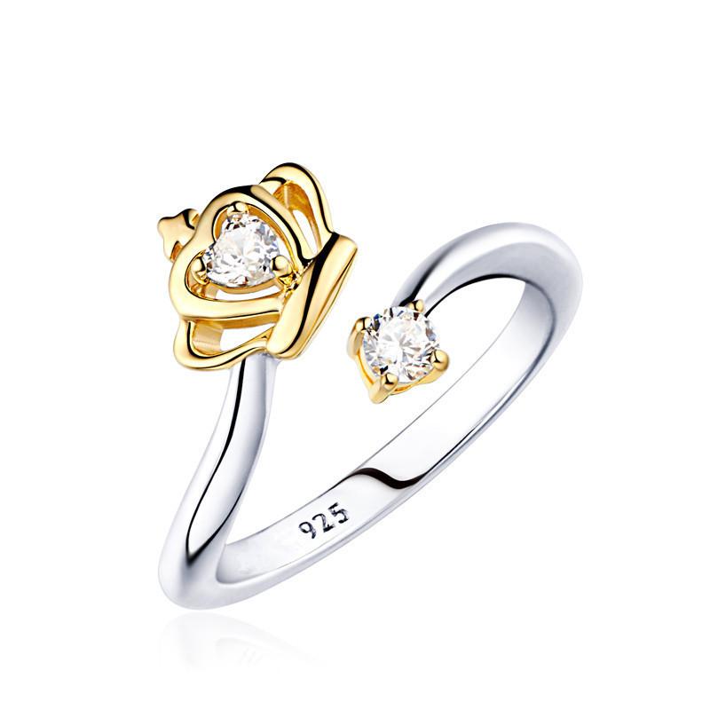 Кольцо «Корона», Медсплав, Женское кольцо с кристаллом, украшение корона с камушком FS174465
