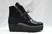 Черные ботиночки на толстой подошве со шнурками и молнией, фото 1