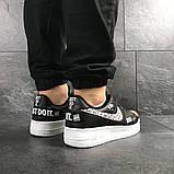 Мужские кроссовки Nike Air Force 1 Just Do It, черно белые, фото 3