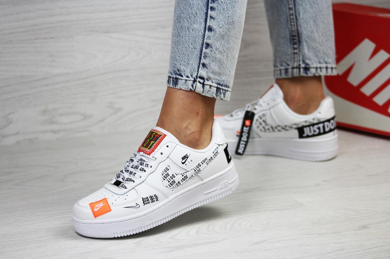 Подростковые, женские кроссовки Nike air force 1 Just Do It, белые