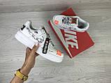 Подростковые, женские кроссовки Nike air force 1 Just Do It, белые, фото 3