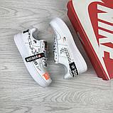 Подростковые, женские кроссовки Nike air force 1 Just Do It, белые, фото 4